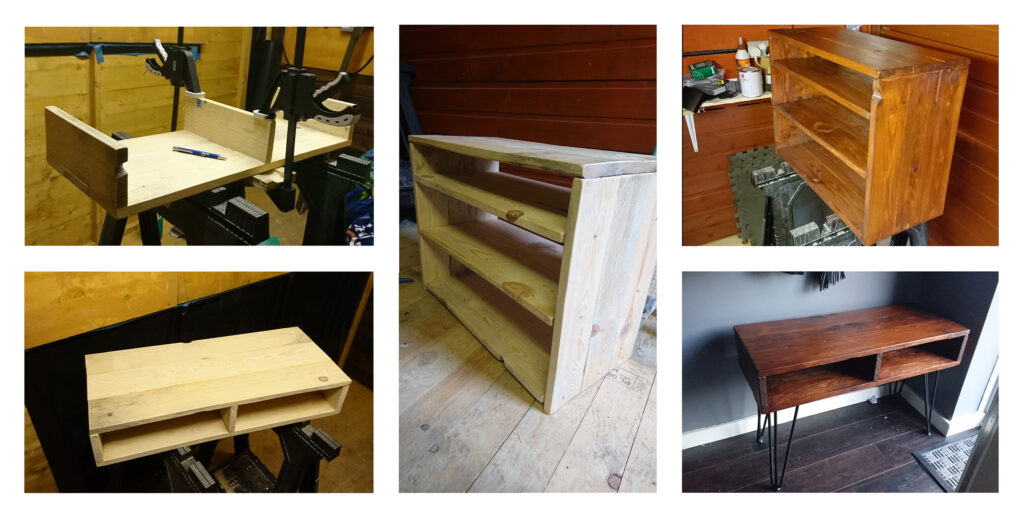 A sideboard and a shoerack I built from old pallets