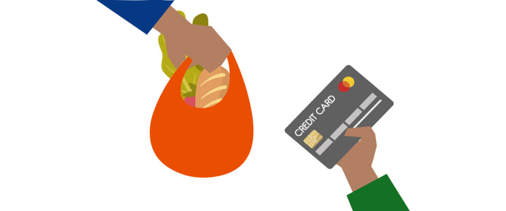 Paying for shopping with a credit card