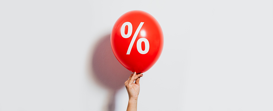 Balloon with percentage sign