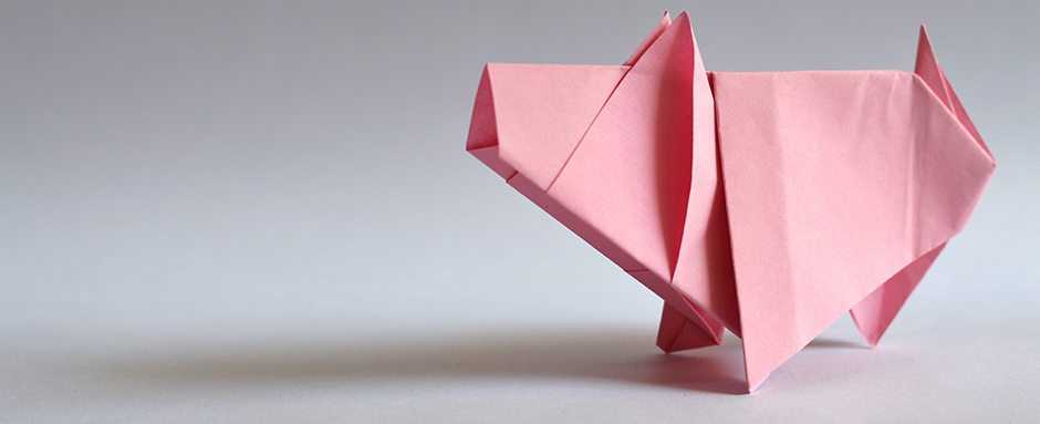 Origami piggy bank