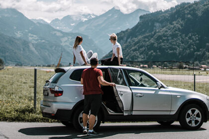 Group of friends on a road trip