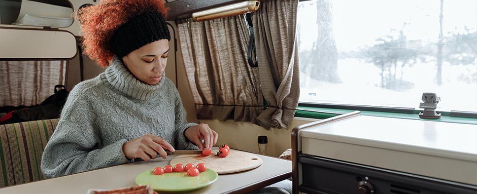 Making food in a campervan