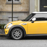 Yellow Mini Cooper Parked